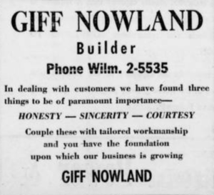 GIFF NOWLAND CONSTRUCTION